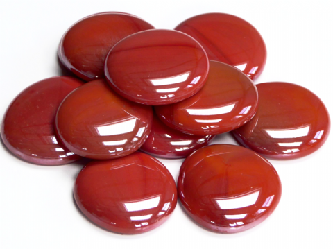 6 Large Glass Pebbles - Brick Red Opalescent